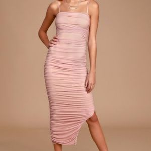 Lulus Blush Ruched pink sexy midi dress